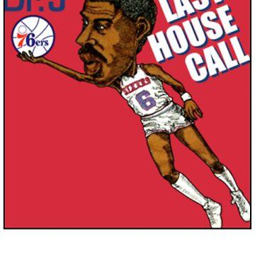 DR J Julius Erving Retro Basketball Cartoon Worn T Shirt by NorthAmericaTs