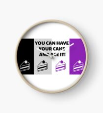 Asexual Flag You Can Have Your Cake And Ace It Asexual T-Shirt Clock