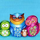 Owl Family Portrait by Annya Kai