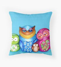 Owl Family Portrait Throw Pillow