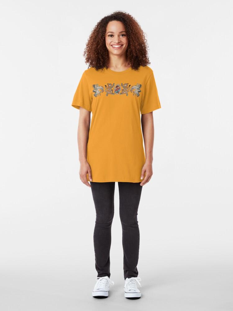 Alternate view of Aztec Eagle, Ocelot, Shield Slim Fit T-Shirt
