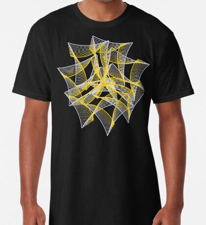 Yellow and Blue Chiffon Organza Ribbon Long T-Shirt