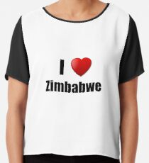 Zimbabwe I Love Country Lover Pride Funny Gift Idea Chiffontop