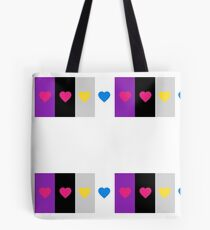 Panromantic Hearts Asexual Flag Stripes Asexual T-Shirt Tote Bag