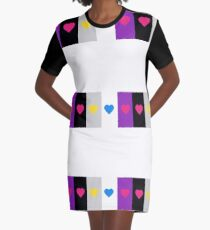 Panromantic Hearts Asexual Flag Stripes Asexual T-Shirt Graphic T-Shirt Dress
