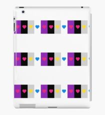 Panromantic Hearts Asexual Flag Stripes Asexual T-Shirt iPad Case/Skin