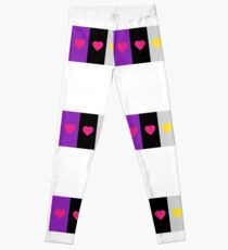 Panromantic Hearts Asexual Flag Stripes Asexual T-Shirt Leggings