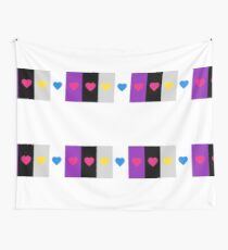 Panromantic Hearts Asexual Flag Stripes Asexual T-Shirt Wall Tapestry