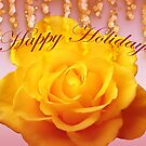 Yellow Rose And Golden Lights Happy Holidays by hurmerinta