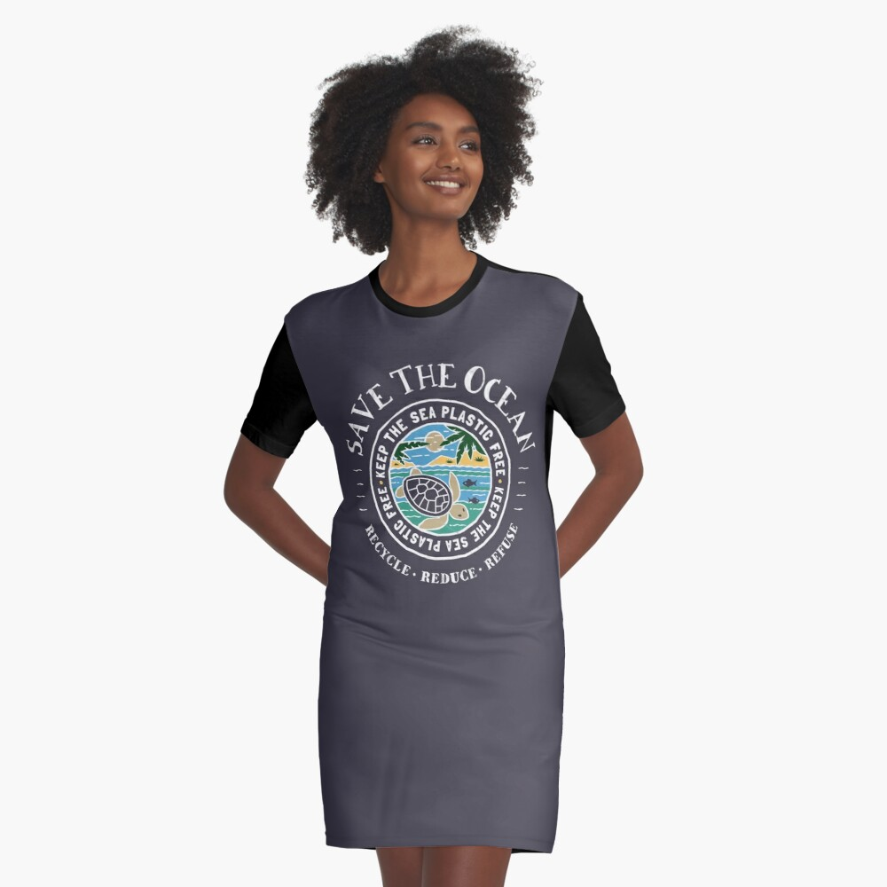 Save The Ocean Keep the Sea Plastic Free Turtle Scene Graphic T-Shirt Dress