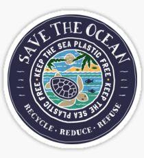 Save The Ocean Keep the Sea Plastic Free Turtle Scene Sticker
