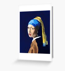 The Girl with a Pearl Earring after Vermeer Greeting Card