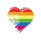 Grungy I Love LGBT Heart Flag by stíobhart matulevicz
