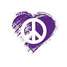 Grungy I Love Peace Sign Heart Flag by stíobhart matulevicz