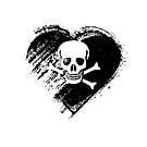 Grungy I Love Pirates Heart Flag by stíobhart matulevicz