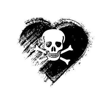 Grungy I Love Pirates Heart Flag by madra