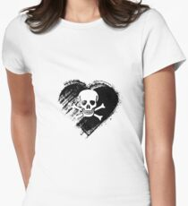 Grungy I Love Pirates Heart Flag Women's Fitted T-Shirt