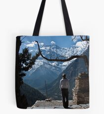 A girl looking out on to valley and mountains Tote Bag