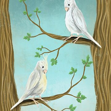 Cockatiels in trees painting by Extreme-Fantasy