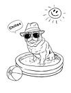Pug Chillax - Cool dog in the pool by shufti