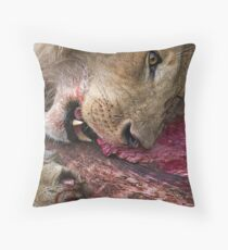 Lion's Meal Throw Pillow