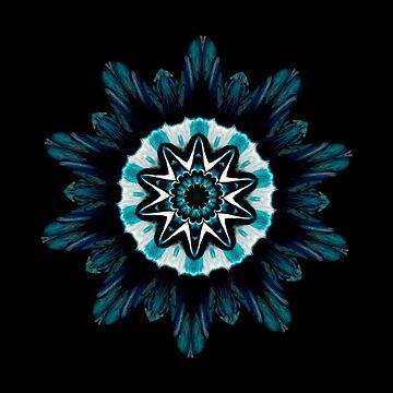 Blue Lotus Mandala - Abstract Kaleidoscope Design by Fluid Nature by vmajzlik
