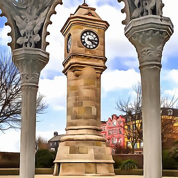 The Mckee Clock in Bangor, Ireland. (Painting) by cmphotographs