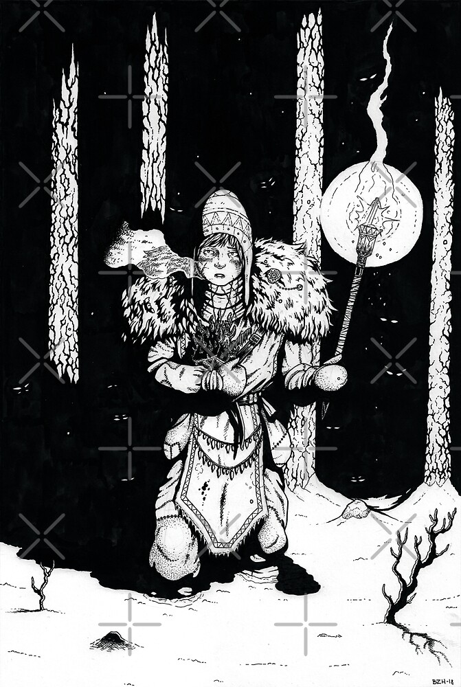 Fantasy horror ink artwork - black and white drawing by zachholmbergart