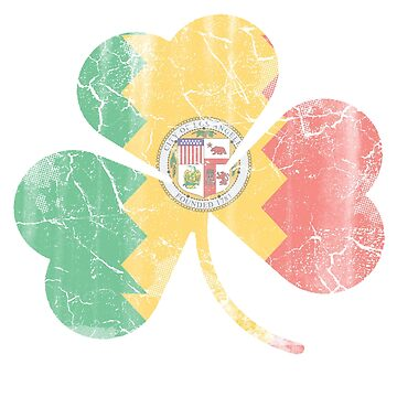Vintage Irish Flag of Los Angeles Shamrock by stpatricksday