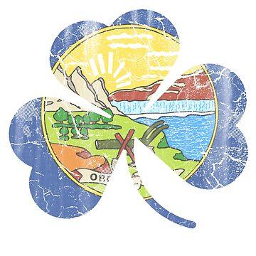 Vintage Irish Flag of Montana Shamrock by stpatricksday