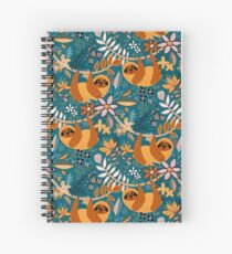Happy Boho Sloth Floral  Spiral Notebook