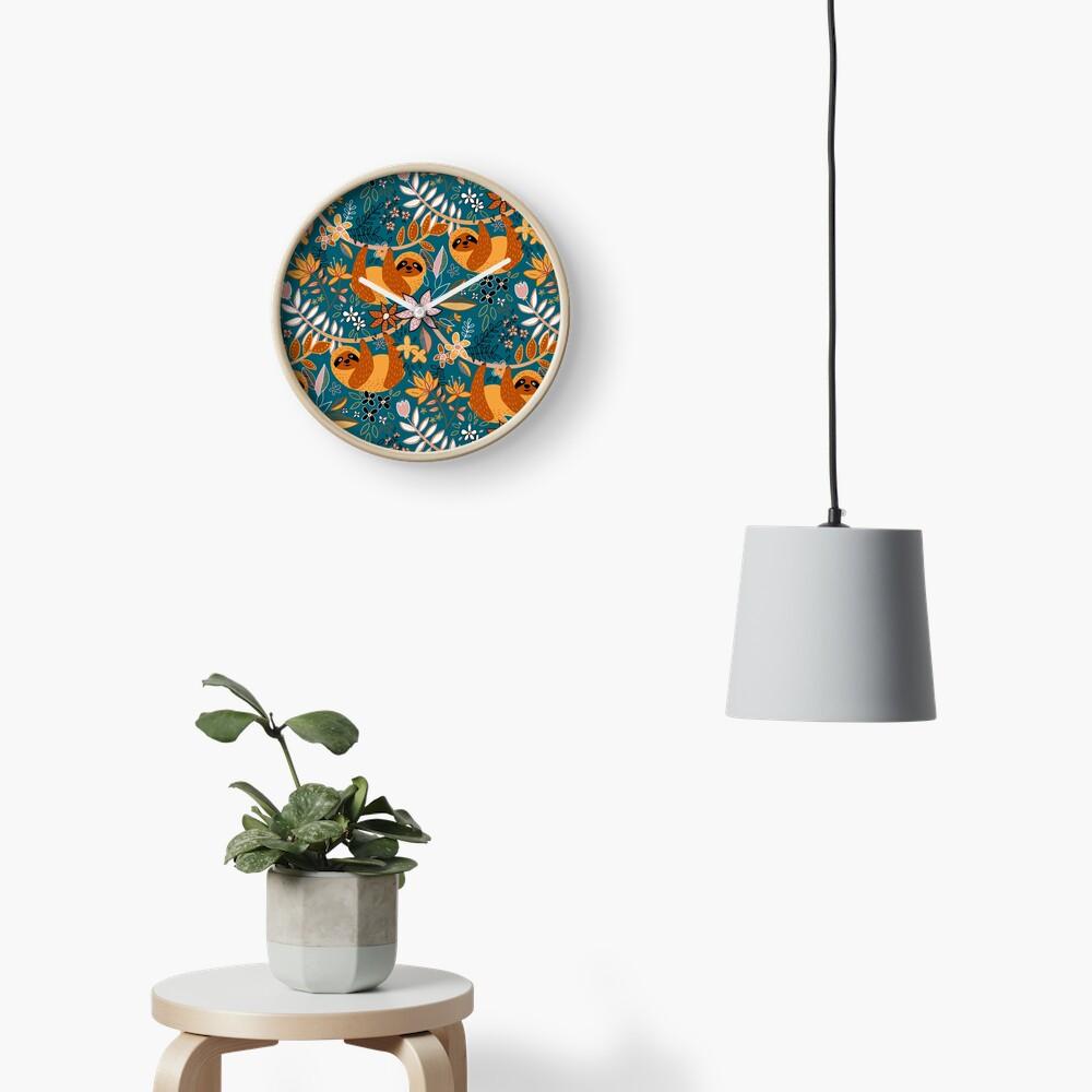 Happy Boho Sloth Floral  Clock