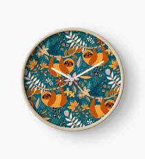 Happy Boho Sloth Floral  Clock