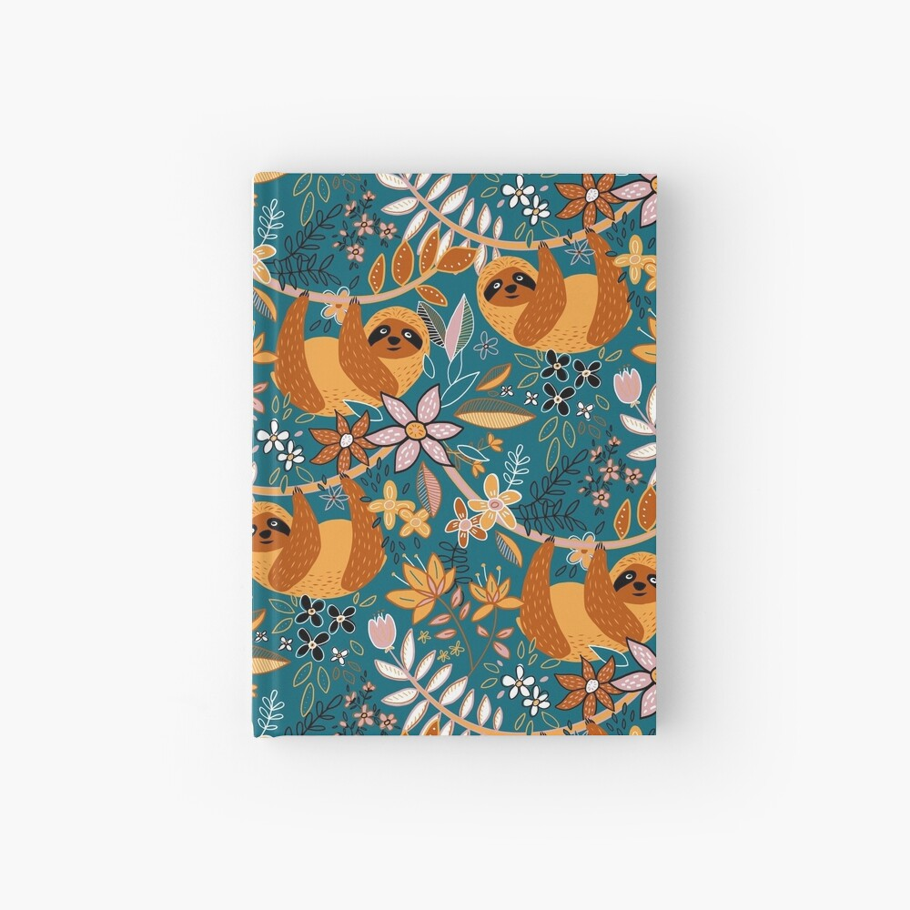Happy Boho Sloth Floral  Hardcover Journal