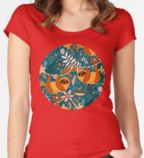 Happy Boho Sloth Floral  Fitted Scoop T-Shirt