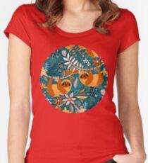 Camiseta entallada de cuello redondo Feliz boho floral perezoso
