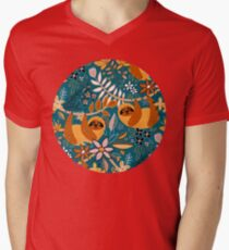 Happy Boho Sloth Floral  V-Neck T-Shirt