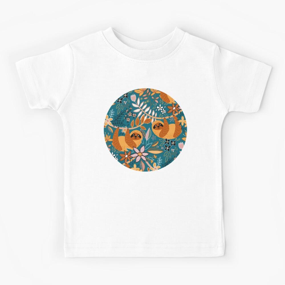 Happy Boho Sloth Floral  Kids T-Shirt