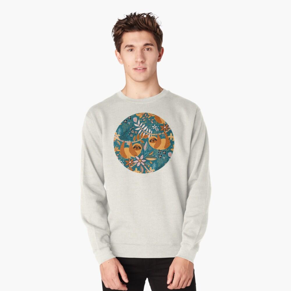 Happy Boho Sloth Floral  Pullover Sweatshirt