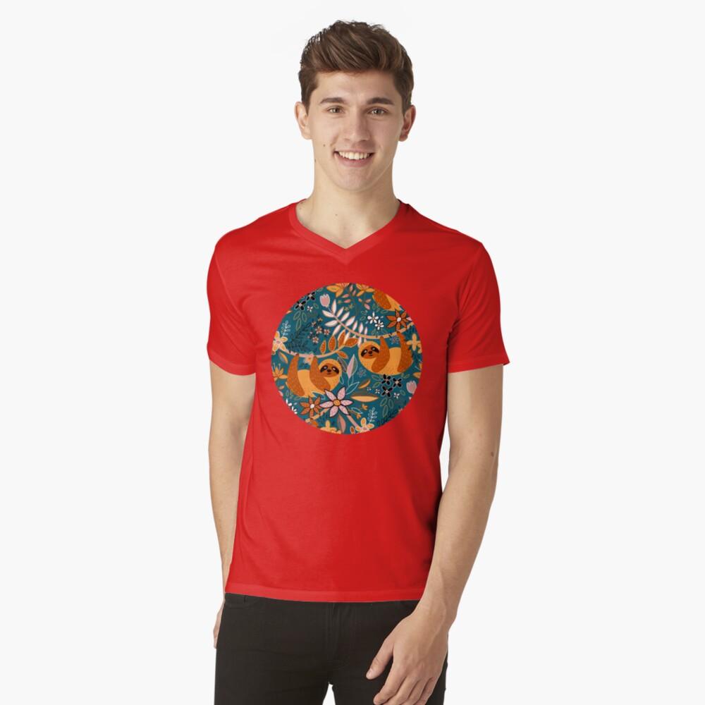 Happy Boho Sloth Floral  V-Neck T-Shirt