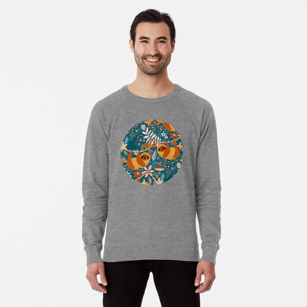 Happy Boho Sloth Floral  Lightweight Sweatshirt