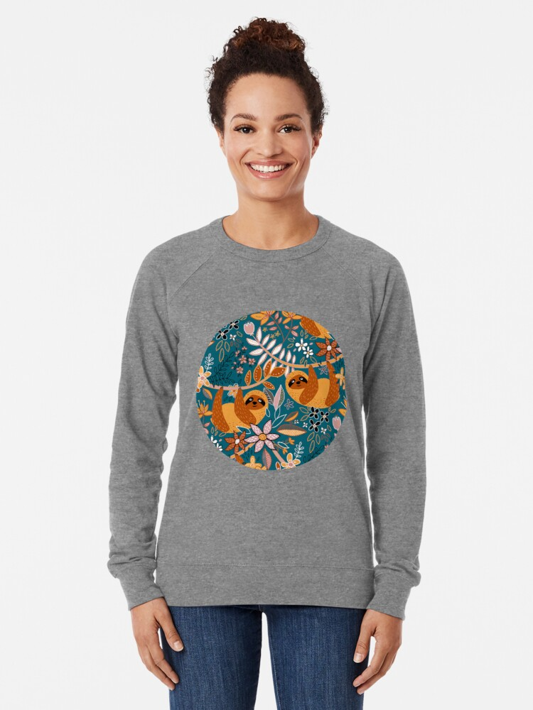 Alternate view of Happy Boho Sloth Floral  Lightweight Sweatshirt