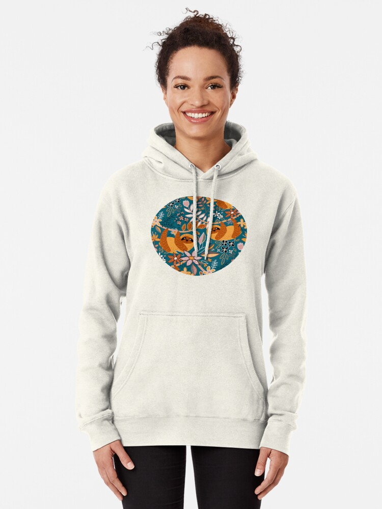 Alternate view of Happy Boho Sloth Floral  Pullover Hoodie