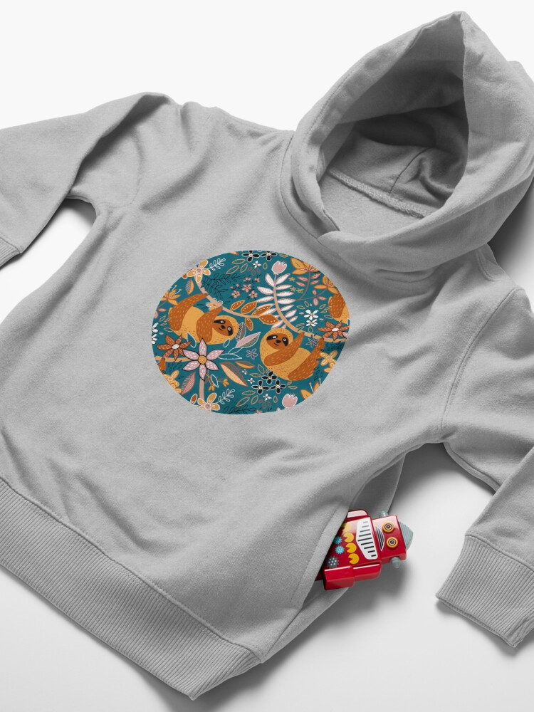 Alternate view of Happy Boho Sloth Floral  Toddler Pullover Hoodie