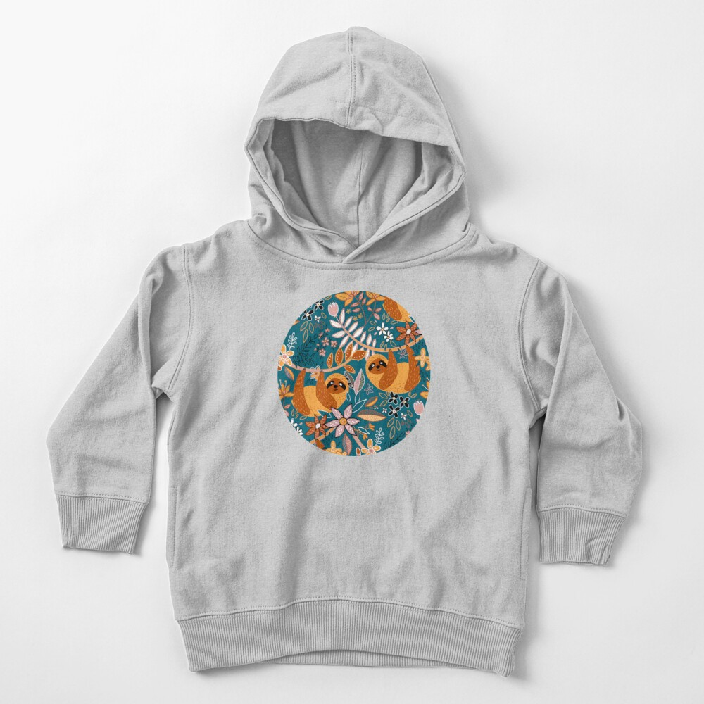 Happy Boho Sloth Floral  Toddler Pullover Hoodie