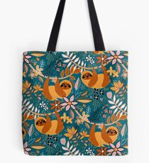 Happy Boho Sloth Floral  Tote Bag