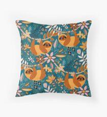 Happy Boho Sloth Floral  Throw Pillow