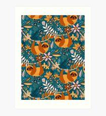 Happy Boho Sloth Floral  Art Print