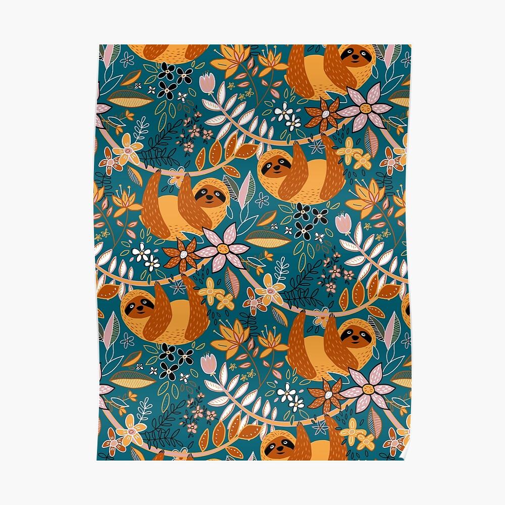 Happy Boho Sloth Floral  Poster