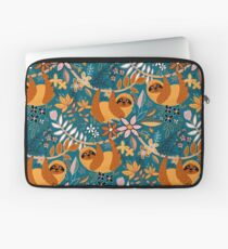 Happy Boho Sloth Floral  Laptop Sleeve